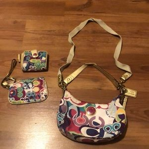 Coach Poppy Groovy Crossbody Purse Shoulder Bag with Matching Wristlet Wallet